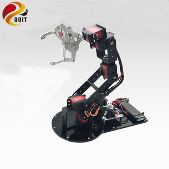 Original DOIT 6 Dof Metal Mechanical Arm Manipulator Full Set Metal Structure+1pcs Metal Mechanical Claw +6pcs High Torque Servo