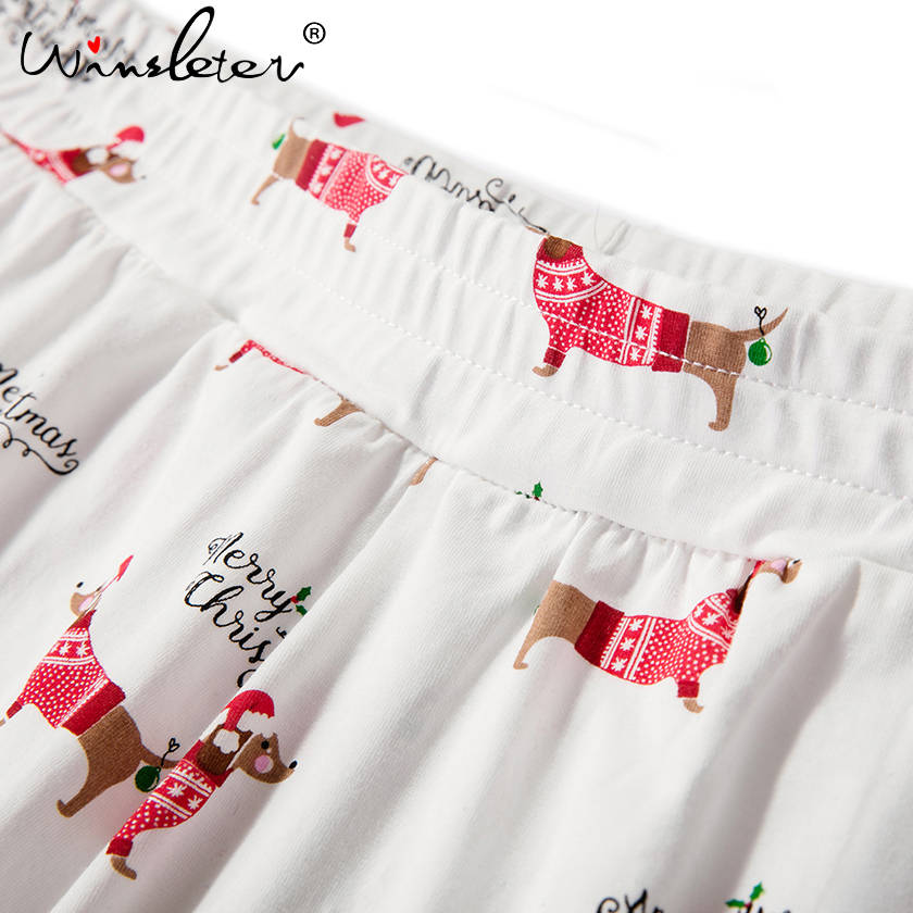 christmas pajama sets women dachshund with santa hat dog print 2 pieces set crop top shorts elastic waist loose pyjamas s7n001 in pajama sets from womens