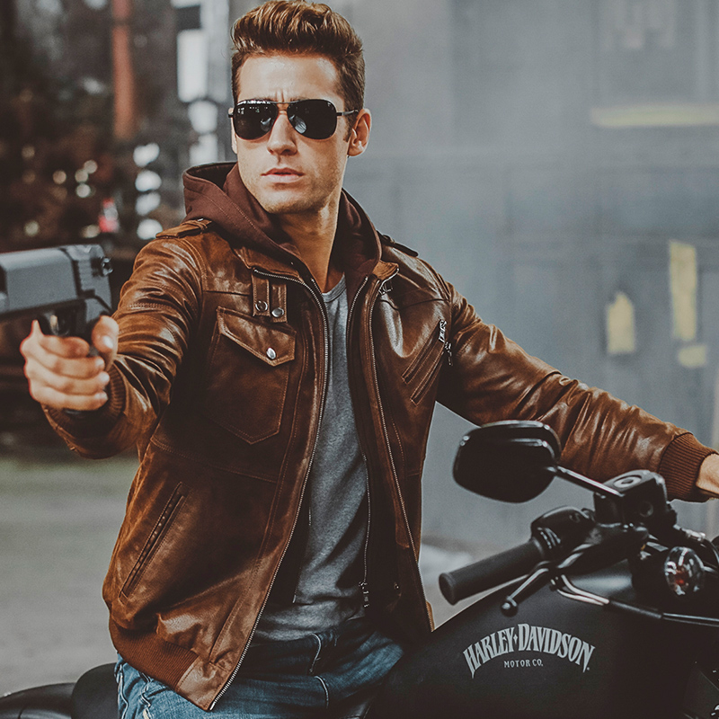 2 colors Men's pigskin motorcycle removable hooded real leather jackets winter coat male Warm Genuine Leather jacket
