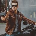 2 цветов мужская кожаная мотоцикл Натуральной Кожи куртка съемный капюшоном настоящее кожаные куртки зимнее пальто мужчины