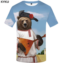 KYKU Brand Russian Bear T Shirt Music T-shirt Chinese Printed Mens Tee Shirts Clothing China Men Funny 3d