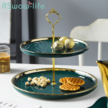 Light luxury Emerald Phnom Penh Dessert Afternoon Tea Cake Rack Ceramic Plate Double Snack Plate Fruit Tray Storage Tray phnom penh salad plate phnom penh glass tableware plate hand painted gold edge fruit plate golden storage plate