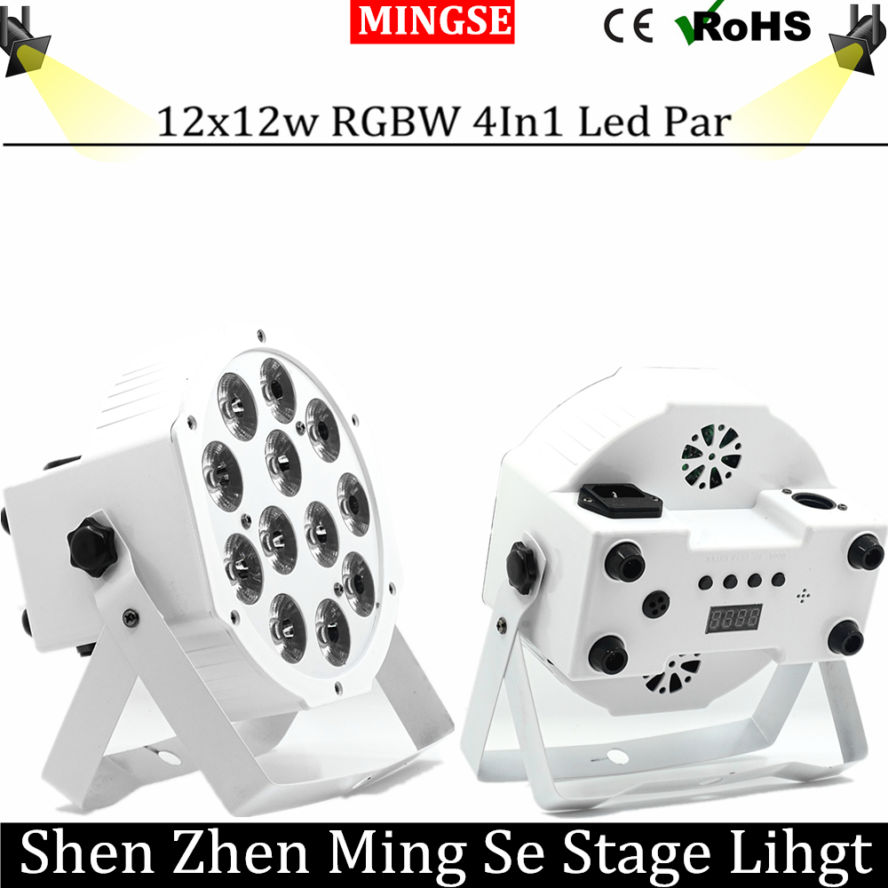 Fast Shipping 12x12w flat par led Flat White Led Par Light 12*12W Smooth RGBW Color Mixing DMX 4/8 Channels Stage Wash