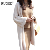 RUGOD 2018 New Elegant Mink Cashmere Knitted Cardigan Women Autumn Winter Warm Soft Long Cardigan Sweaters Female Pull Femme