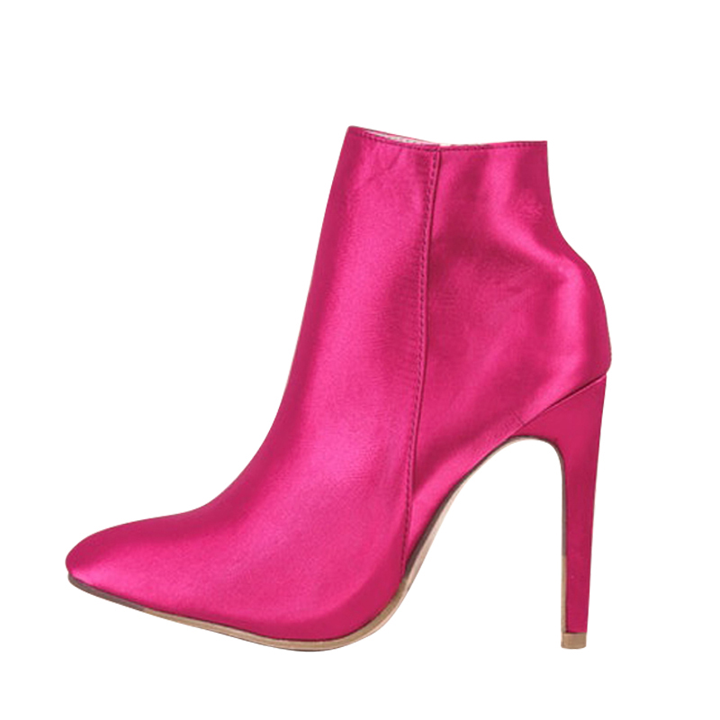 Style Coton Sexy Pour Bottes 2018 D'hiver Chaussures Femmes Rouge Talons Cheville Red Mujer Rose Botines Mince CxtQsrhd