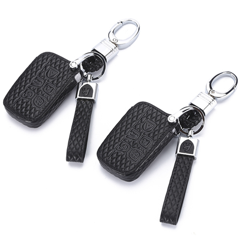Leather Car Key Case Cover For Land Rover A9 Range Rover Sport 4 Evoque Freelander 2 Discovery for Jaguar XE XJL XF C X16 Guitar-in Key Case for Car from Automobiles & Motorcycles