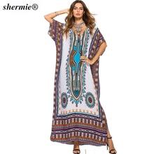 da21cd2217d Summer Bikini 2018 Print Beach Tunic Kaftan Cover Ups Maxi Long Batwing Women  Chiffon Female Vestidos