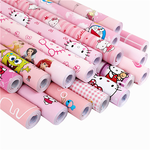 New Boy Girl Pink Blue Children's Bedroom Pvc Wall Stickers Cartoon Cat Animal Paper Wallpapers Self-adhesive Waterproof Mildew