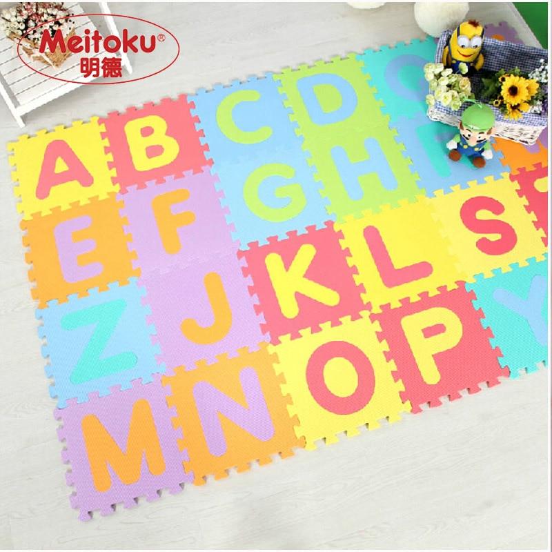 Meitoku tapis de jeu en mousse bébé EVA/tapis de sol à emboîtement A-Z lettres 26 pc, chaque 32cm X 32cm X 1CM = 12
