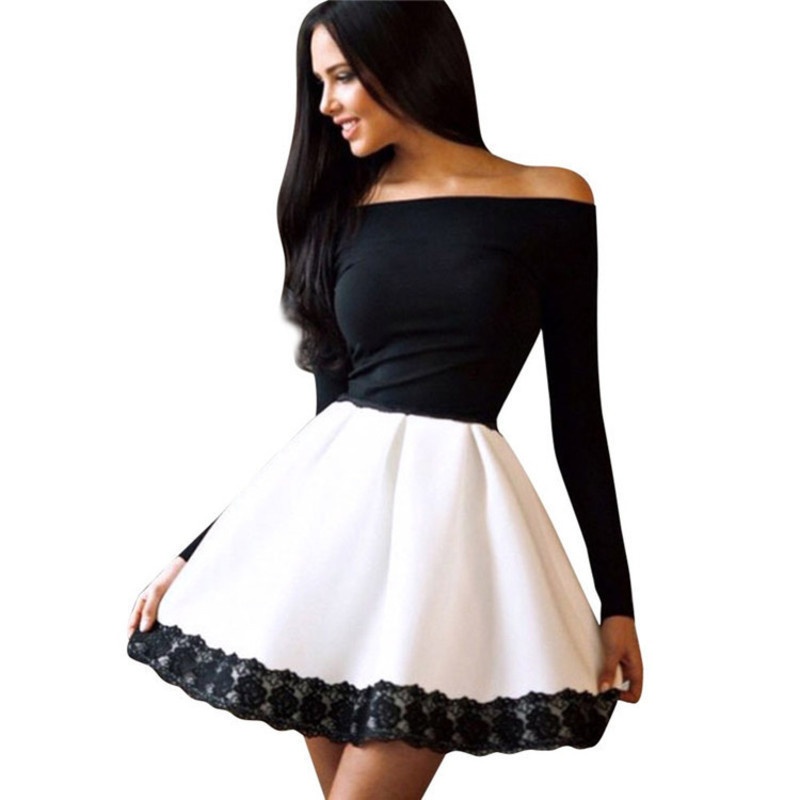 Floral Elbise Bodycon Club Robe Femme Beach Women Spring Skinny Cute Sexy Seksi Strapless Lace Long Sleeve Short Courte Dress
