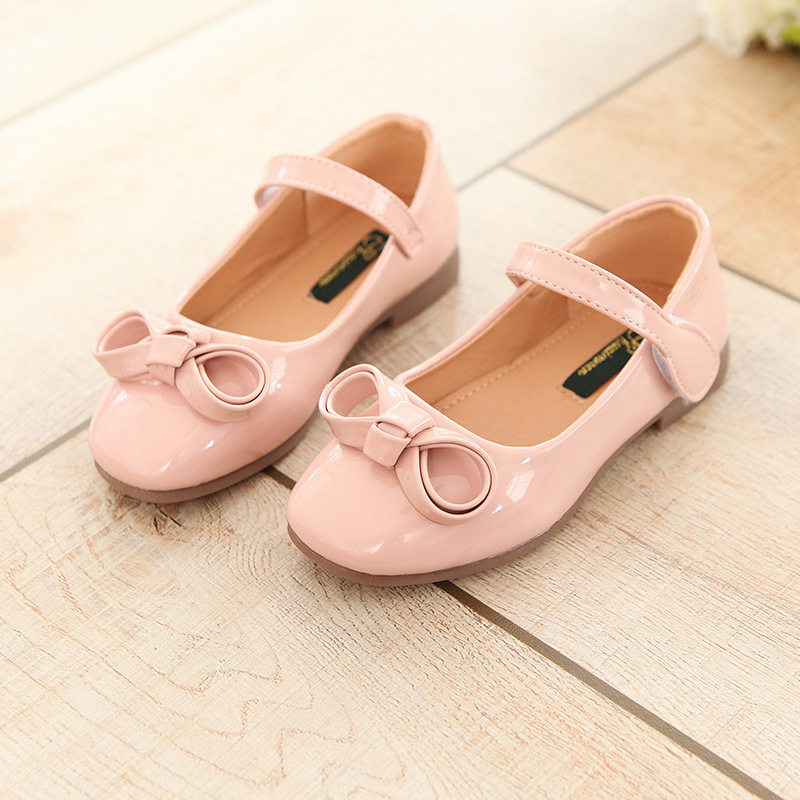 children fashion spring autumn kids casual bow sewing princess loafers solid color sneakers cute girls PU patent leather shoes