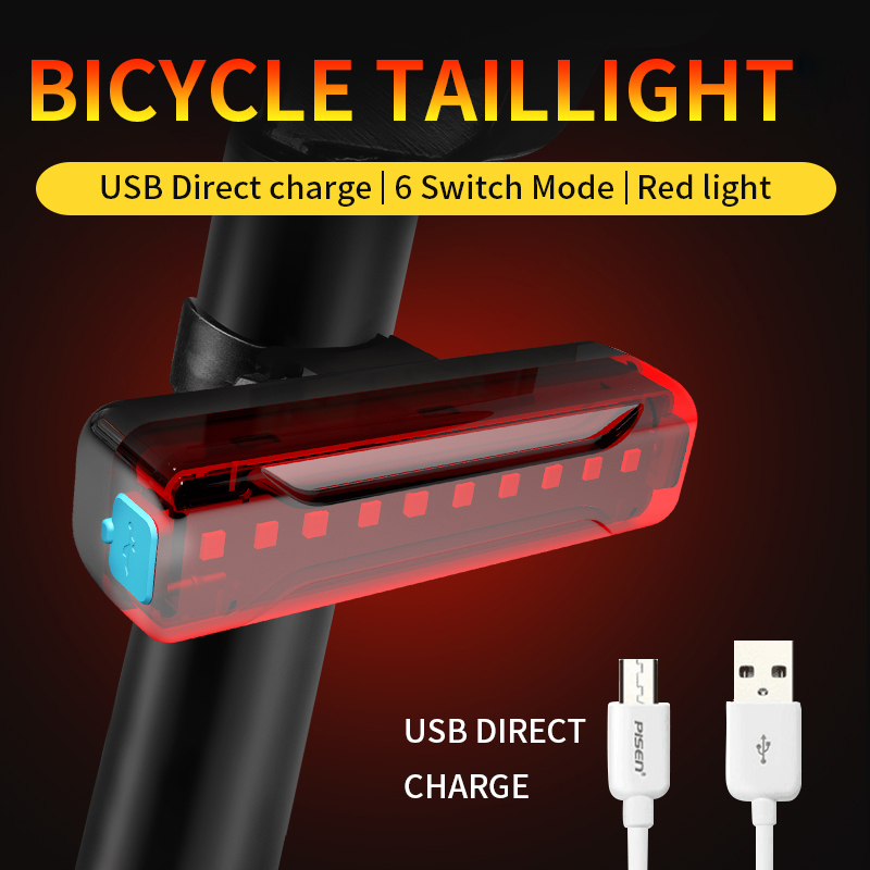 2019 New 100/200 Hours Battery Life USB Rechargeable Bike Bicycle Light LED Taillight Rear Tail Safety Warning Cycling Light