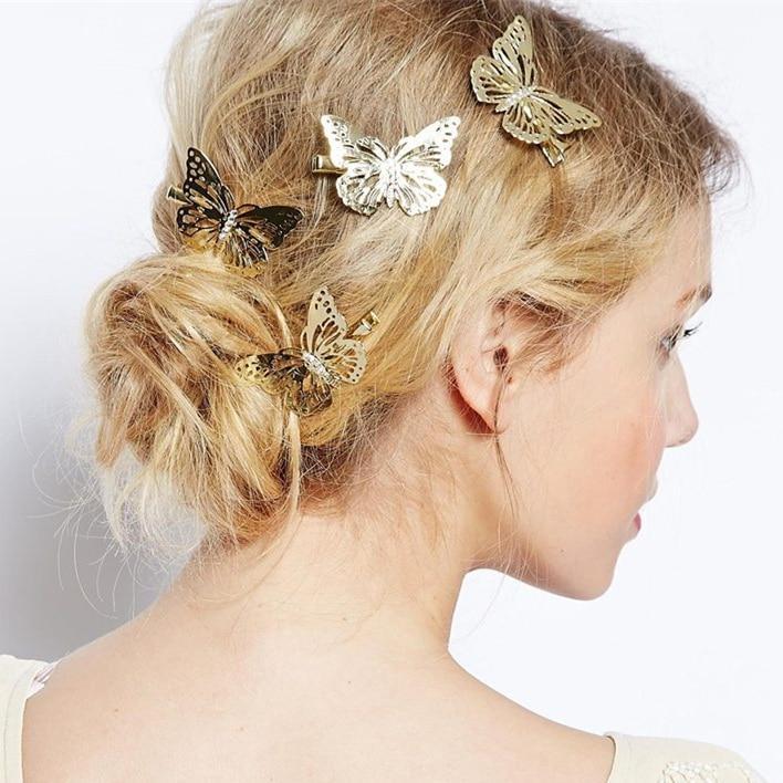 3 PCS Nouveau Femmes Romantique Cheveux Clip De Luxe Cheveux Accessoires Or Papillon Barrette pour Cheveux