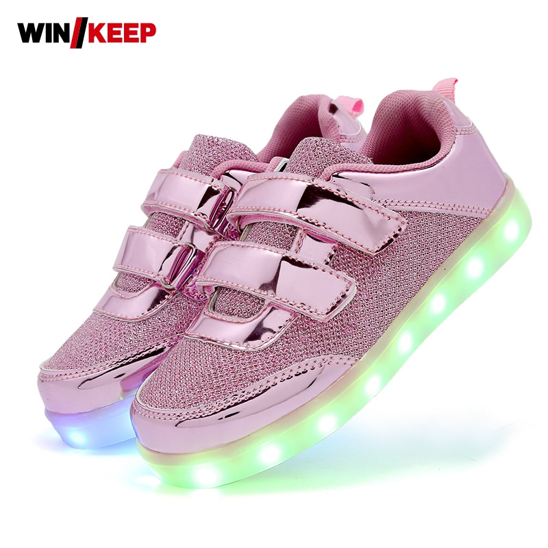 2017 Led Children Shoes USB Charging Basket Shoes Light Up Kids Boys Girls Luminous Sneaker Glowing Sport Shoes