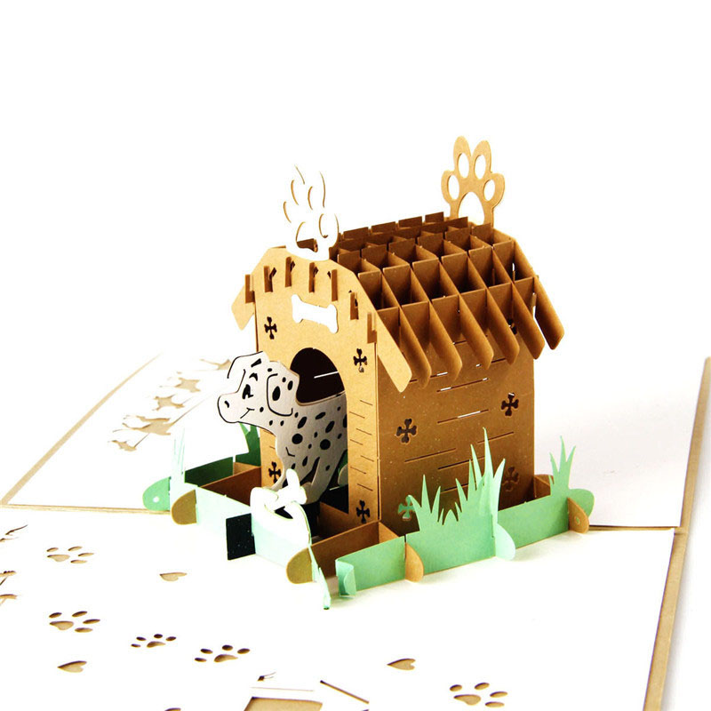 3D Laser Cut Handmade Carving Cute Dog Cage House Dinasour Paper ...