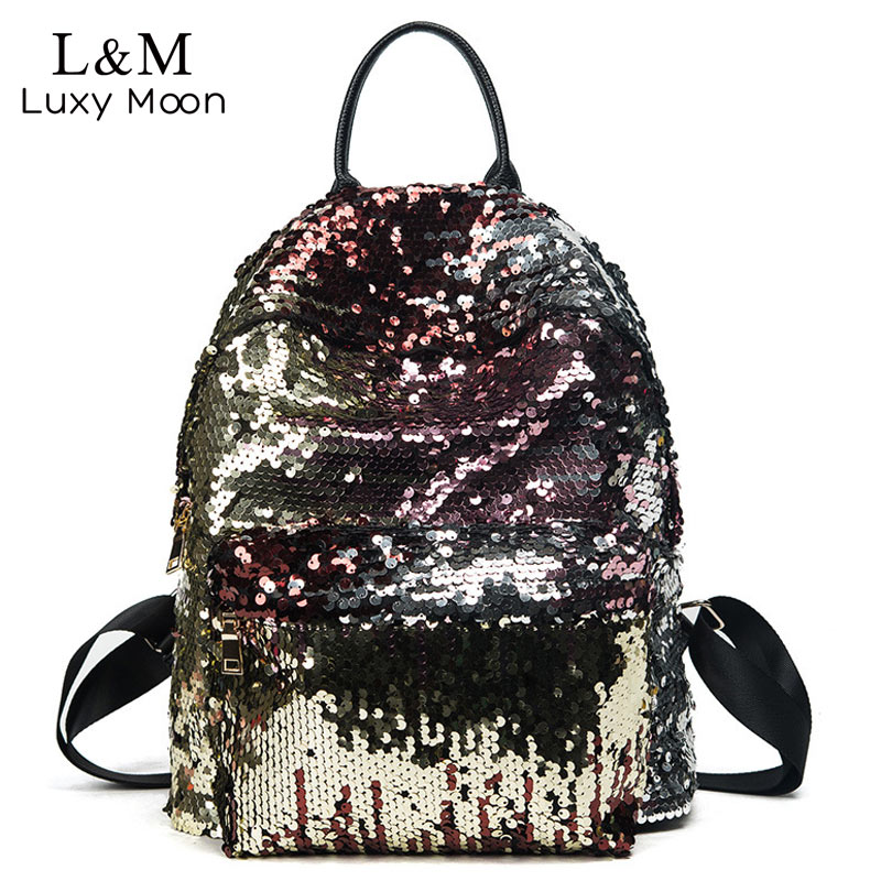 aefb652a92 Glitter Backpack Women Sequin Backpacks Teenage Girls Bling Rucksack  Fashion Brand Gold Black School Bag Sequins mochila XA1059H