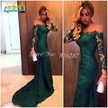 Custom Made Azul Marino Sirena Verde vestido do festa Mangas Largas de Encaje Vestidos de Noche Sin Tirantes Vestido de Fiesta Vestido de Noche 2016