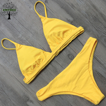 ZMTREE Swimwear Women Bikini Set Red Yellow Solid Color Swimwear 2017 Crochet Bikini Sexy Beach Bathing Suit Brazilian Biquini