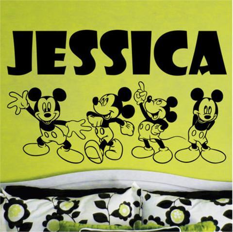 Nom personnalisé Mickey Mouse Vinyl Autocollants Belle Motif Wall Sticker pour Chambre Amovible Bébé Pépinière Stickers Muraux ZA046