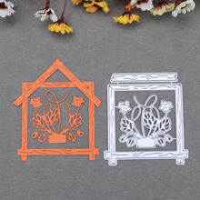 Hollow Flower Wood Square Frame Metal Cutting Dies For DIY Scrapbooking Photo Album Paper Cards Decorative Crafts Embossing