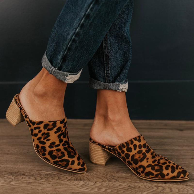 New Leopard Flock Pointed Toe Women Slippers High Heel Fashion Mule Shoes Slides Patchwork Sandal Ladies Zapatos Mujer 2019New Leopard Flock Pointed Toe Women Slippers High Heel Fashion Mule Shoes Slides Patchwork Sandal Ladies Zapatos Mujer 2019