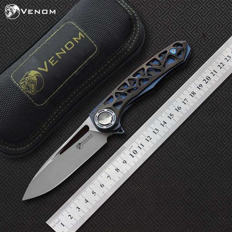 Free shipping VENOM HARPOON folding knife M390 blade TC4 CF handle camping hunting survival pocket Kitchen