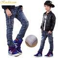 Kindstraum invierno nuevos muchachos vaqueros 4 estilos niños calientes del dril de algodón pantalones niños pantalones niños ropa de invierno caliente gruesa lana, MC238