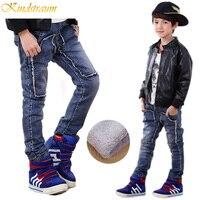 Kindstraum zima nowych chłopców dżinsy 4 style dzieci ciepłe spodnie jeansowe dzieci ciepłe spodnie polarowe grube chłopcy zima nosić, MC238