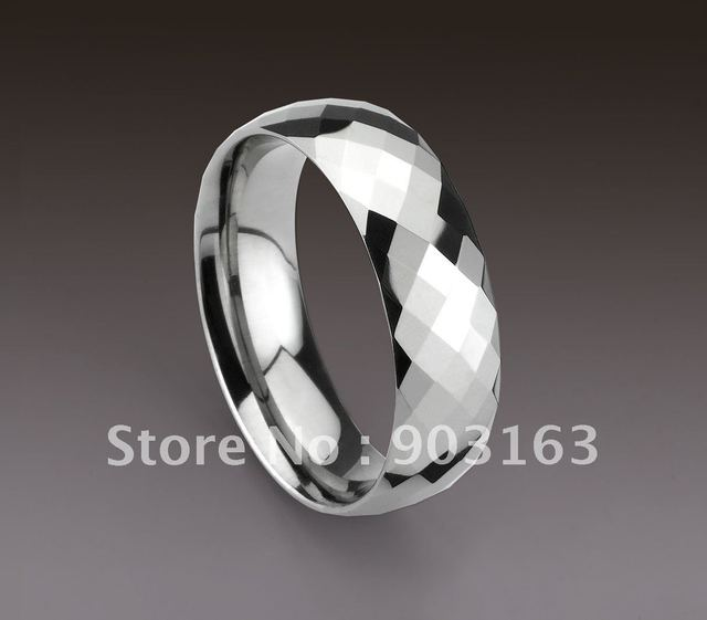 Wholesale Popular best selling a Couple Arrival Guaranteed 100% Tungsten Carbide Polished Faceted Wedding Band free shipping