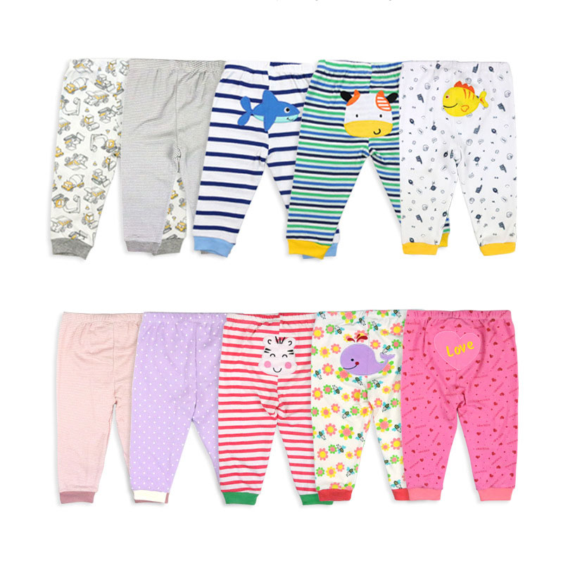 [5Pcs/lot Random Color]Cartoon Print Baby Pants Cotton Baby Leggings Spring Autumn Toddler Boy Pants Newborn Infant Clothing