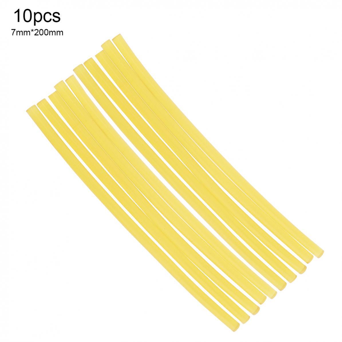 10pcs 7mmx200mm Transparent Yellow Strong Viscose Hot Melt Gun Glue Sticks Plastic Sticks For Glue Gun