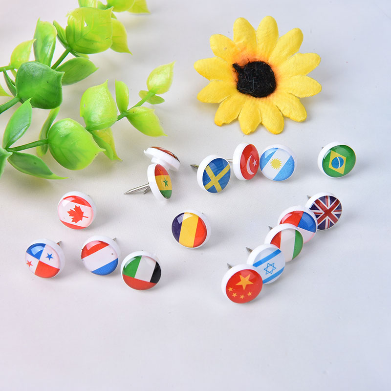 16pcs/box Random Color Map Tacks National Flag Glue Push Pins Office Notice Board Thumb Tack Decoration