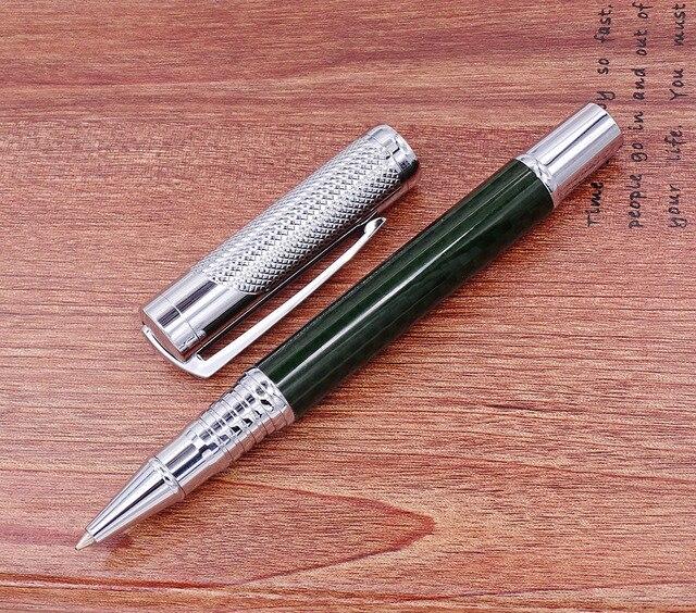 Fuliwen カーボン繊維絶妙なローラーペンとリフィル、ファッションダークグリーン品質筆記ペンオフィスビジネス