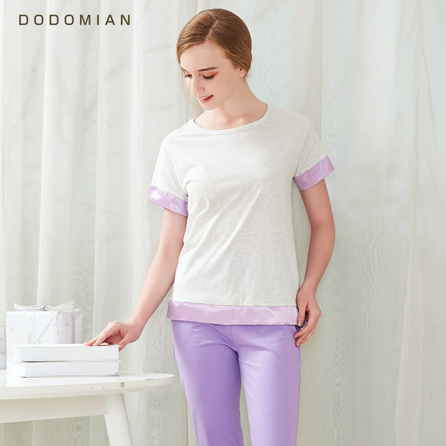 8c83f64961 Hot Casual Women Pajamas Set Simple solid color O-Neck Short sleeve Pyjamas  For Women Summer Nightwear Quality Cotton Sleep Suit