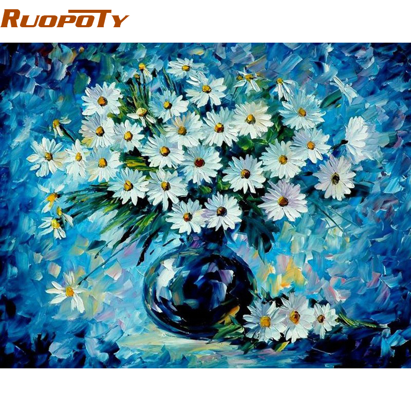 RUOPOTY Blue Flower DIY Painting By Numbers Handpainted Oil Painting Modern Abstract Wall Art Picture For Home Decoration 40x50|Painting & Calligraphy|Home & Garden - title=