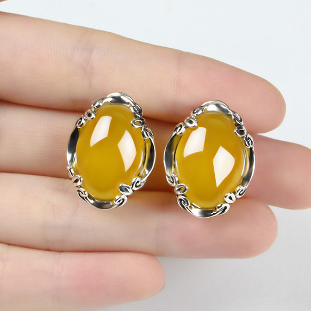 Natural Chalcedony Earring 925 Silver Women Yellow Stone S925 Thai Silver boucle d'oreille Stud Earrings