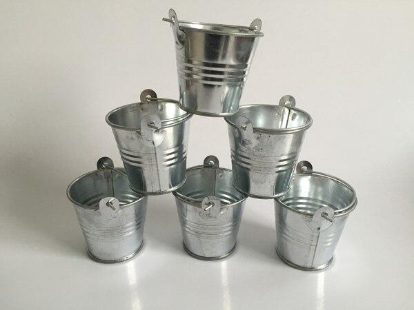 100Pcs Lot D6 H5CM Metal Favor Pails Tin buckets Decorative wedding favor holders Silvery candy holders