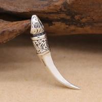 Handgemaakte Vintage 925 zilveren wolf tand hanger Real Sterling Zilveren Tand Hanger Zilveren Sieraden Ketting Hanger
