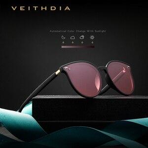 Image 3 - Veithdia ブランドヴィンテージデイナイトデュアルレディースサングラス偏光ミラーレンズ猫目フォトクロミックサングラス女性のための 8520