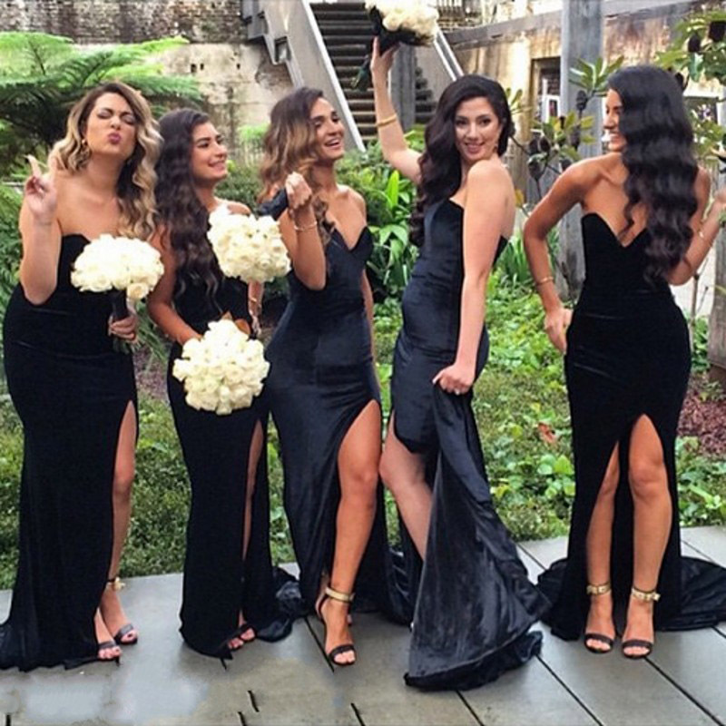 1a966df1375 Sexy Long Black Mermaid Bridesmaid Dress Simple Sweetheart Off The Shoulder  Low Back Side Split Bridesmaid Dresses To Wedding-in Bridesmaid Dresses  from ...