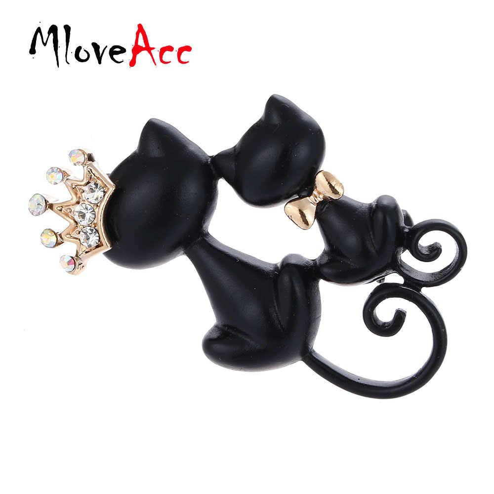MloveAcc lisse noir mère fille chats broches cristal couronne reine Corsages Hijab Pin femmes chapeaux écharpe costume broche vêtements