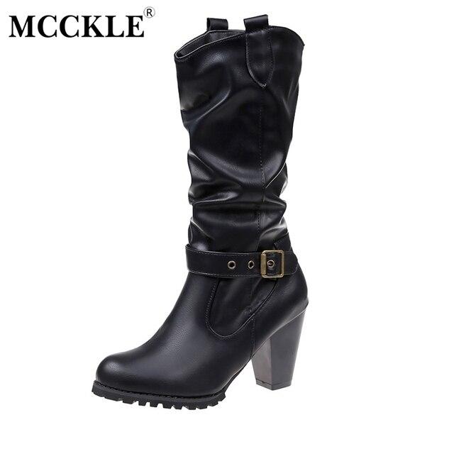 MCCKLE المرأة الأزياء منصة كتلة عالية الكعب العجل الأحذية الإناث Buckel سستة الخريف أحذية السيدات عارضة الأحذية