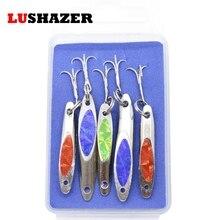 LUSHAZER 5pcs/lot fishing spoon lure ice fishing baits 3g 5g metal lures spinnerbait wobblers spinner metal peche jig