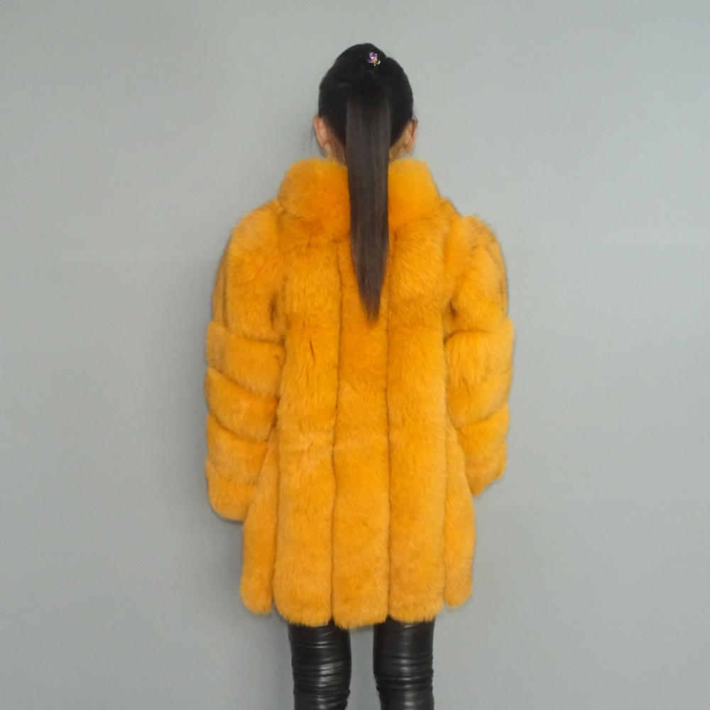 Real Orange Gloden Fox Fur Vertical Stripes Patchwork Stripe Coat Outwear Long Jacket Parka Winter Trench Stand Up Collar Plus