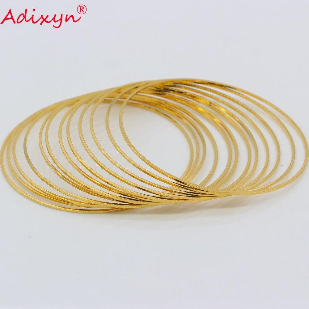 Adixyn Total 12PCS Dubai Fine Bangle for Women/Girls Gold Color Jewelry Ethiopian African Bracelet Arab Gifts N072404