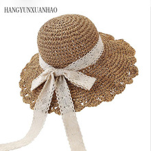 Straw Hat Woman Summer Go On A Journey Sandy Beach Hat Bow Lace Manual Crochet Hook Hat Foldable Will Eaves Sunscreen Sun Hat journey woman
