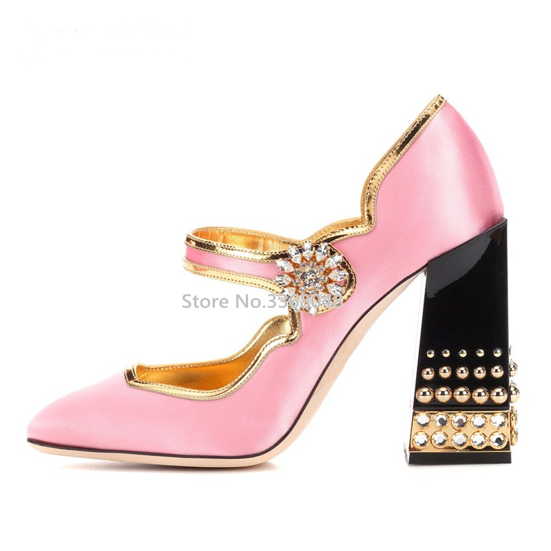 New Elegent Crystal Buckle Pink Women Pumps Chunky High Heels Runway Gold Rivets Shoes Charming Party Wedding Silk Shoes Woman