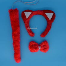 Animal Red Cat Ear Headband Bow Tail Halloween Party Fancy Dress Decor