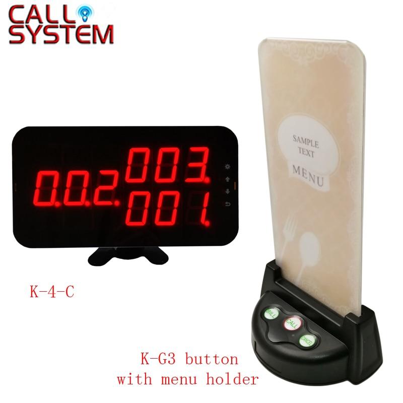 Restaurant waiter calling system 3-digit display receiver K-4-C with 15pcs Table Buzzer menu holder 100 pcs ld 3361ag 3 digit 0 36 green 7 segment led display common cathode