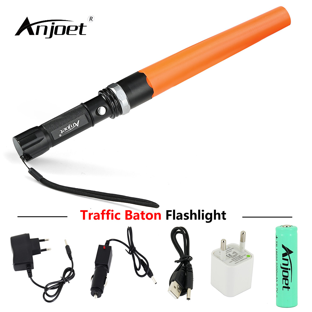 ANJOET Directing Traffic Flashlight Focus Adjustable Q5 Powerful Led Lamp Torch Lantern Traffic Police Equipment Red Baton Light